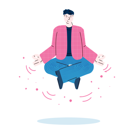 Relaxed businessman flying in lotus position Illustration