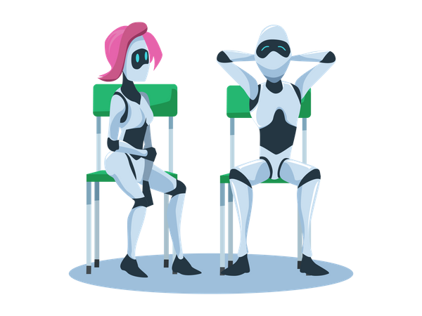 Relaxed Male and Female Robot Sitting on Chair Illustration