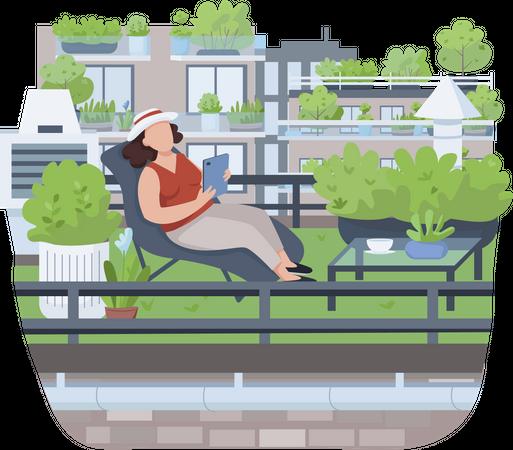 Relaxing on veranda Illustration