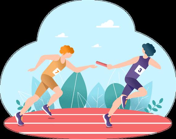 Relay Race Illustration