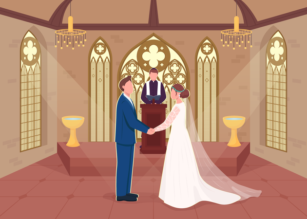 Religious wedding ceremony Illustration