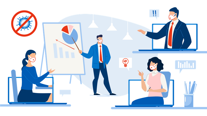 Remote Business Meeting Illustration