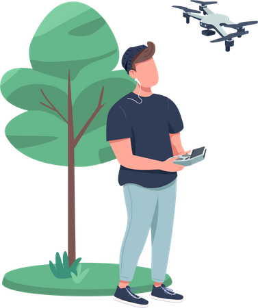 Remote video filming by drone Illustration