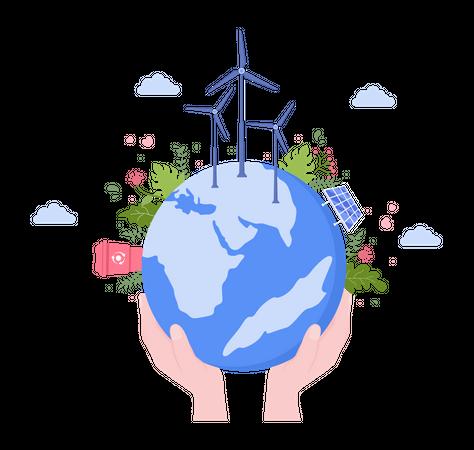 Renewable energy production Illustration