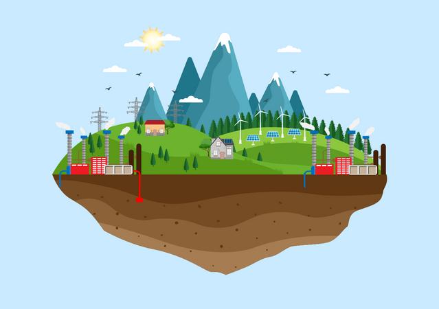 Renewable Sustainable Energy Illustration