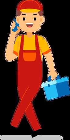 Repair worker talking on phone Illustration