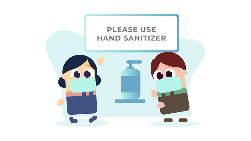 Requesting to use sanitizer Illustration