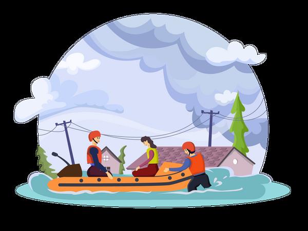Rescue team saving people in flood Illustration