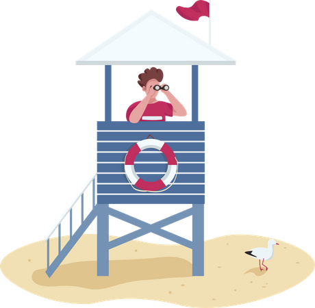 Rescuer with binoculars in lifeguard tower Illustration