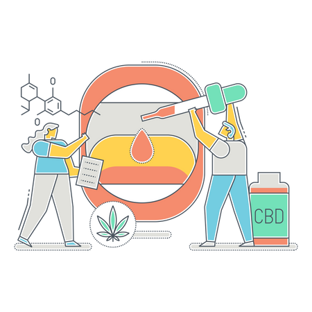 Research team finding use of CBD oil Illustration