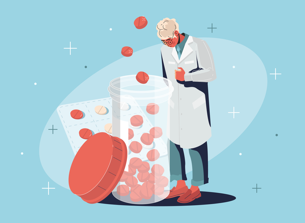 Researcher standing with drugs Illustration