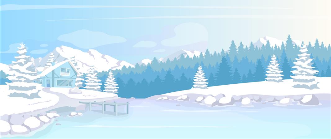 Residence in winter woods Illustration