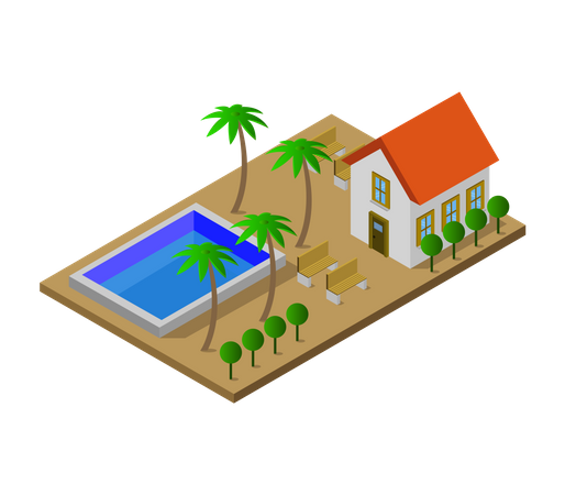 Residence with swimming pool Illustration