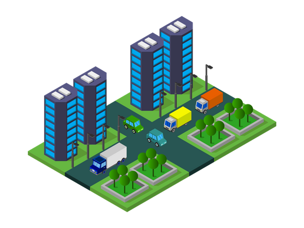 Residential apartments Illustration