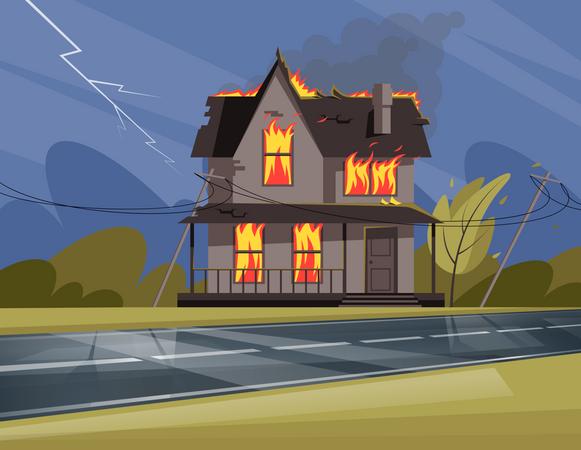 Residential house on fire Illustration