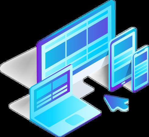Responsive Design on Computer, Laptop, Tablet, PC, mobile, phone, smartphone Illustration