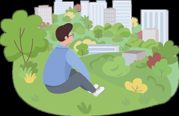 Rest in park Illustration