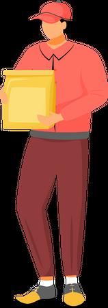 Restaurant food deliveryman Illustration