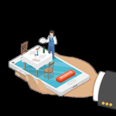 Restaurant Online Booking Illustration