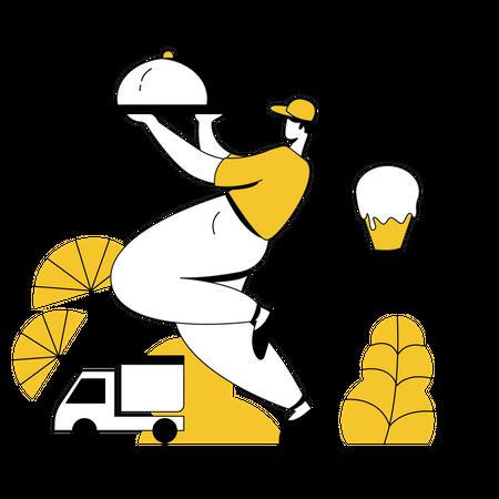 Restaurant staff doing food delivery Illustration