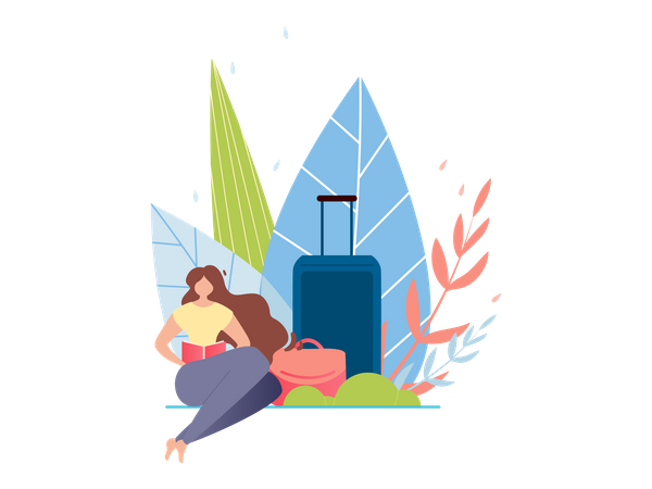 Resting Woman with Baggage in Summer Illustration