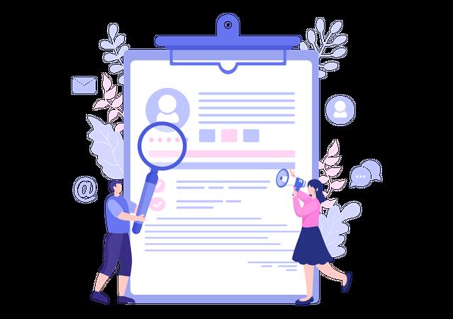 Resume analysis Illustration