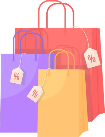 Retail bags with discount Illustration