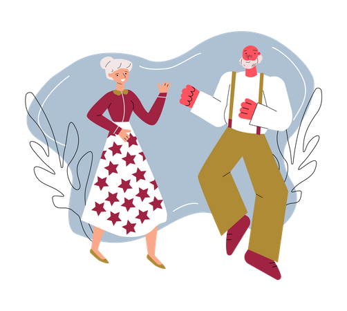 Retirement age leisure and activity Illustration