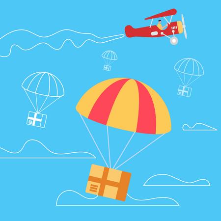 Retro Airplane Throw off Parachutes with Boxes Illustration