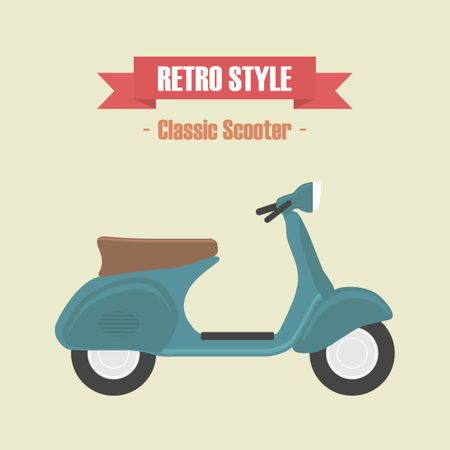 Retro Blue Scooter, Vintage Style Illustration