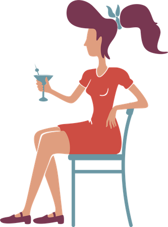Retro elegant young woman with cocktail Illustration
