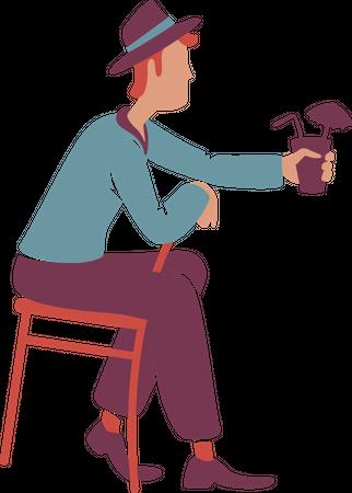 Retro style guy drinking cocktail Illustration