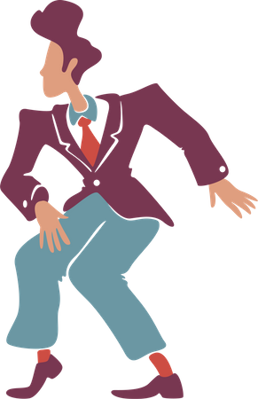 Retro style guy in vintage suit dancing Illustration