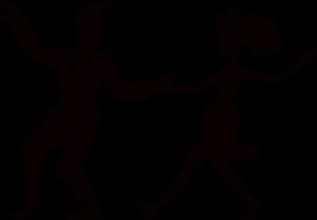 Retro woman and man dancing Illustration