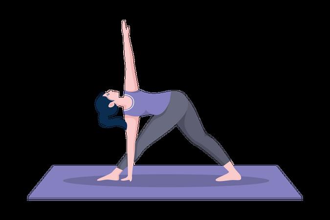 Revolved triangle pose Illustration