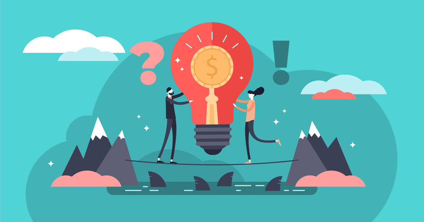 Risky business with huge profit potential Illustration