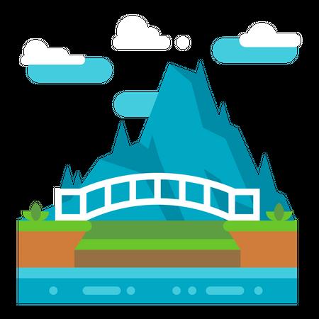 River Bridge Illustration