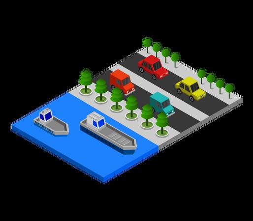 River side road Illustration