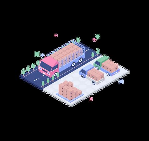 Road freight Illustration