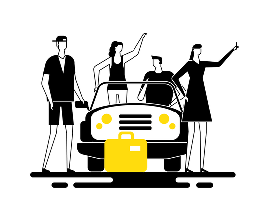 Road trip - Group of friends standing near a car with luggage taking a selfie Illustration