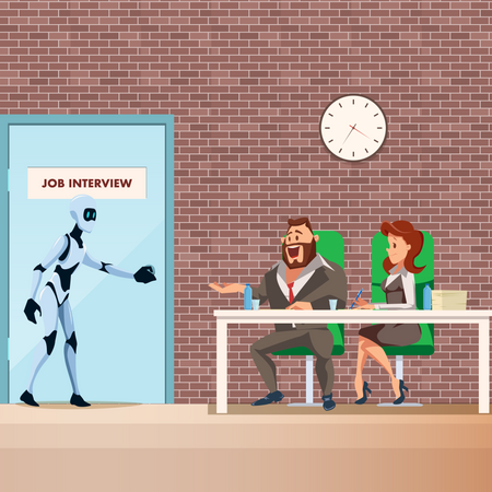 Robot candidate enter for job interview Illustration