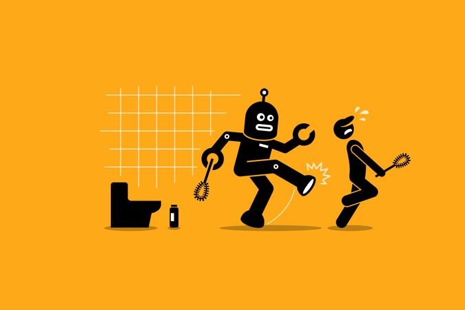 Robot cleaner kicks away a human janitor worker from doing his cleaning job at toilet Illustration