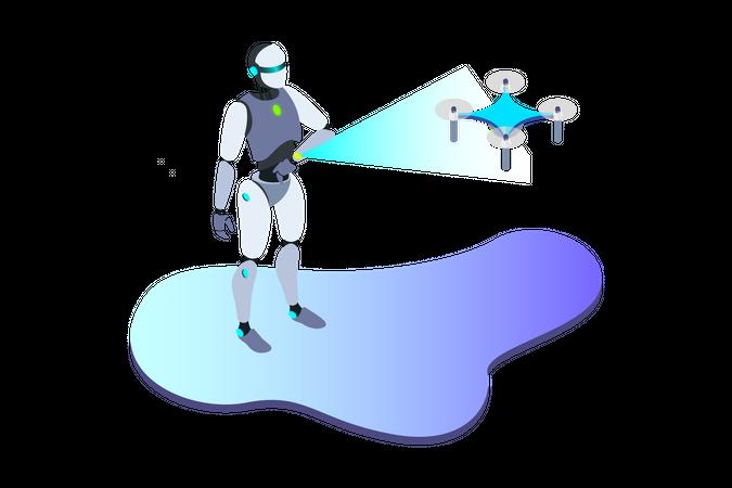Robot Control Drone Illustration