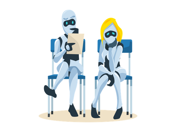 Robot Couple Waiting for Job Interview Illustration