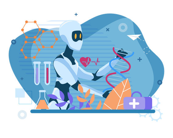 Robot doing research in laboratory Illustration