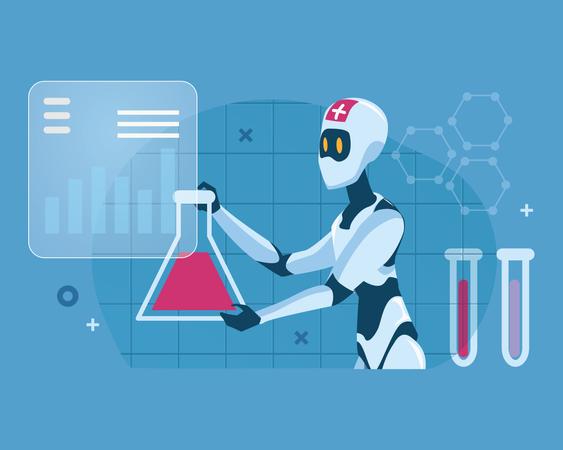 Robot doing research on blood sample Illustration