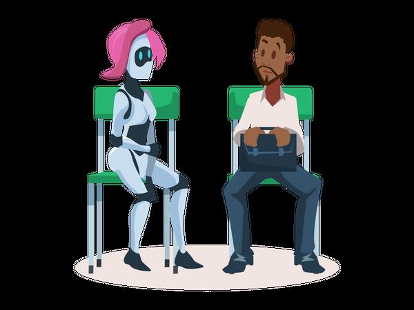 Robot Girl on Chair Talking to Man Employee Illustration