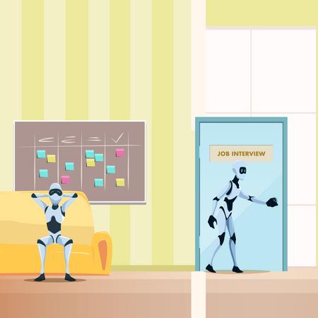 Robot going for job interview Illustration