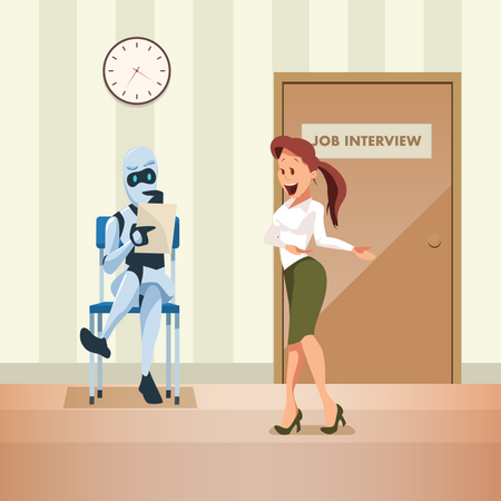 Robot holding resume for Job Interview Illustration