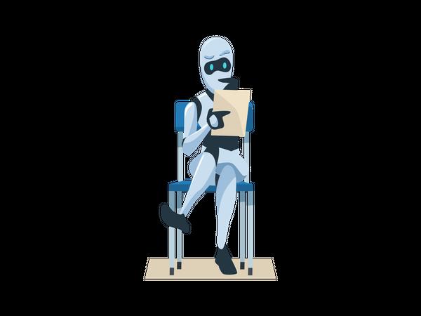Robot Holding Resume Waiting Job Interview Illustration